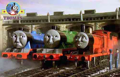 Thomas and friend James the red engine at Tidmouth wooden roundhouse shed with big Gordon locomotive