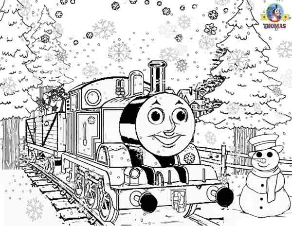 Printable Christmas colouring pages for kids Thomas Winter pictures Train Thomas the tank