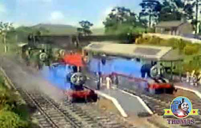 A shinny morning Sodor steam locomotive trains at the railway junction station train ticket office