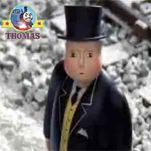 Outside the winter snow shed the Fat Controller was waiting for Thomas and friends Oliver the train
