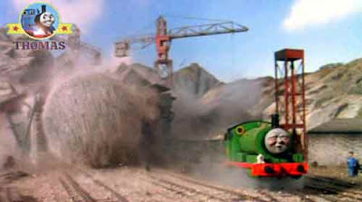 At the railroad yards tiny green Percy tank engine collecting trucks then he heard bolder hurtling
