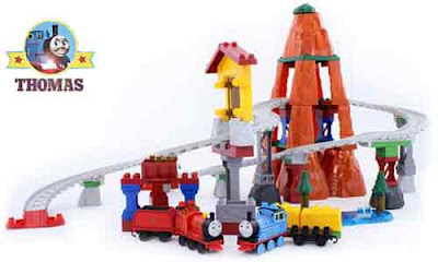 Sodor steam tank Thomas and his red engine friend James the train Toy Railway Mega Bloks brick set