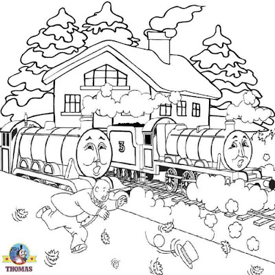 Thomas and friends Henry tank and big express Gordon the train coloring pages online free for kids