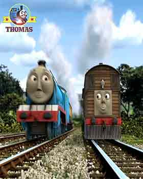 Thomas and friends Toby the tram engine to see Train James the tank engine bright pink paint color