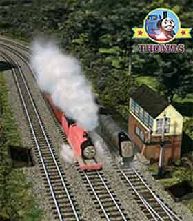 Thomas and friends James the pink engine saw the big express Spence the silver engine at a junction