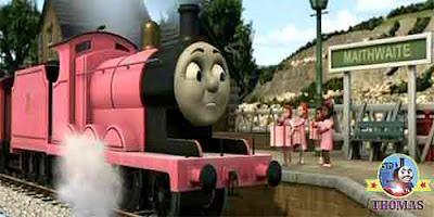 I love pink said Sir Topham Hatt granddaughter so do my friends Pink James the train was so happy