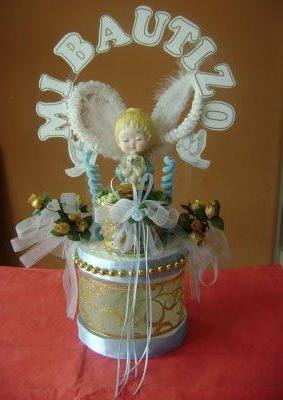 Centro de mesa para bautizo manualidades mamaflor - Como hacer centros de mesa con dulces para bautizo ...