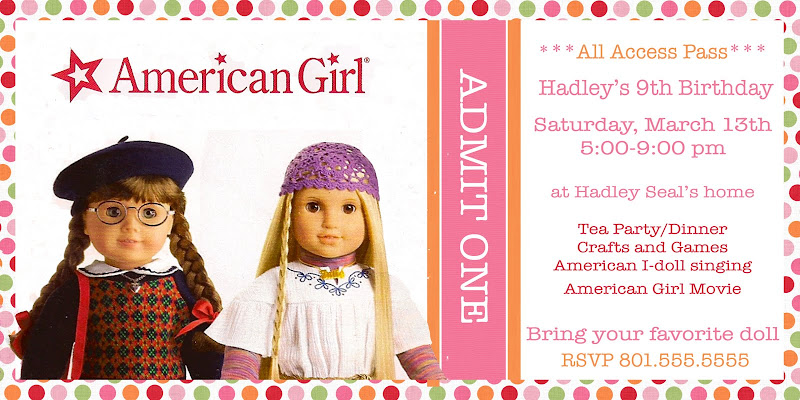 the seal bark american girl doll tea party, Birthday invitations