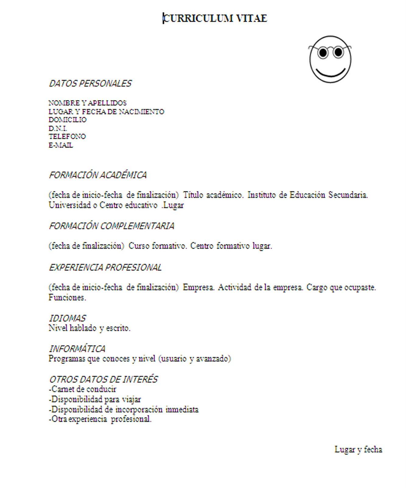 Excelente Ejemplos De Curriculum Vitae Sin Experiencia Foto ...