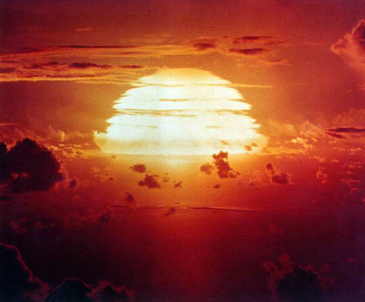 The photo of this 'man made sun' was taken on July, 8, 1956 during a Apache H-bomb test on Eniwetok atoll. In 1963, health concerns about radioactive fallout led to a ban on atmospheric testing of atomic bombs. Since then, we haven't had a chance to enjoy the vibrant radiation of atomic sunsets anymore.