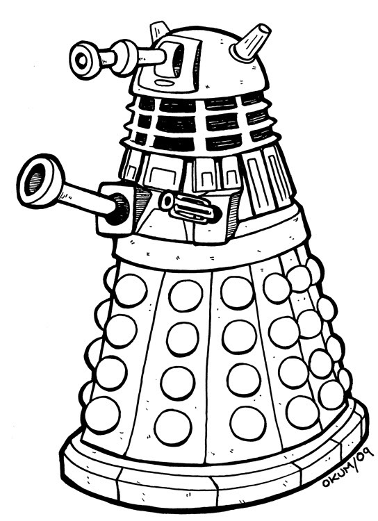 dalek coloring page - dr who and dalaks free coloring pages