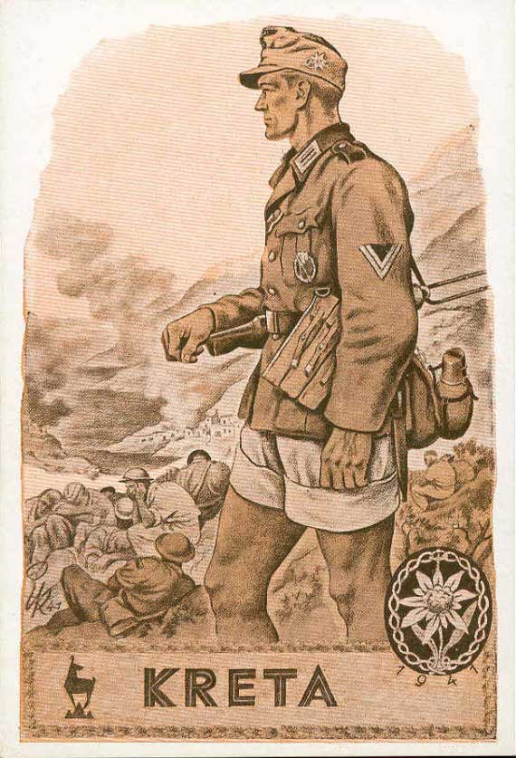 propagande allemande Crete+postcard