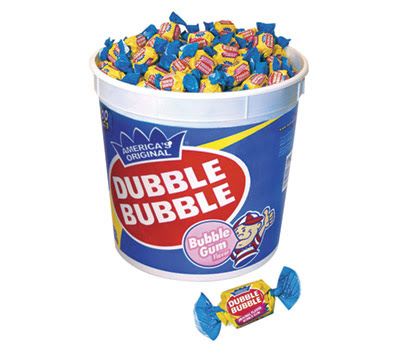 ... gum, e.g. Double Bubble. (DB is held up as the first bubble gum