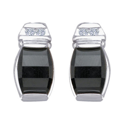 White Gold Black Onyx Diamond Earrings