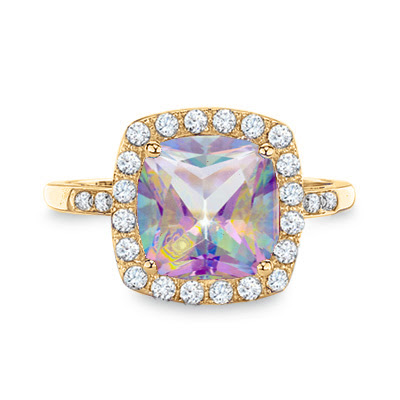Mystic Fire Topaz and White Sapphire Ring