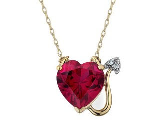 Created Ruby Devil Heart Pendant with Diamonds