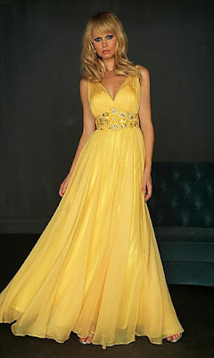 Elegant Yellow Evening Gown