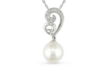 pearl and diamond white gold pendent