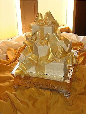 Golden Cake for Wedding Party