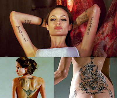 angelina jolie tattoo. Tattoo-loving actress Angelina
