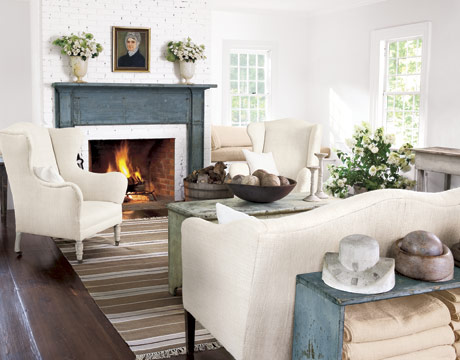 Less Is More The Amazing Antique Blue Mantel Becomes A Focal Point