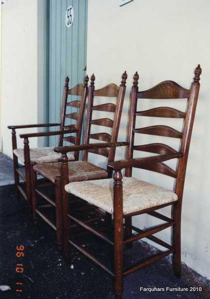 Farquharu0026#39;s Furniture: Ladderback oak carver chairs with rush seat