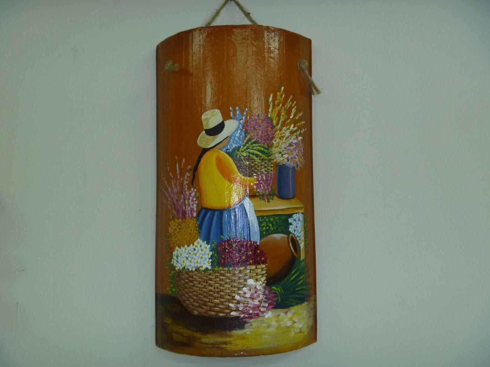 Manualidades eli s tejas decoradas for Pintura para tejas