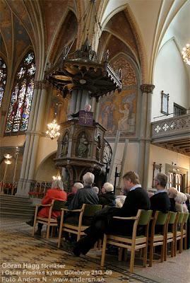 Göran Hägg, predikan, predikar, Oscar Fredrik, kyrka, predikstol, Oscar Fredriks kyrka, Göteborg, kyrkor, svenska kyrkor, reseguide