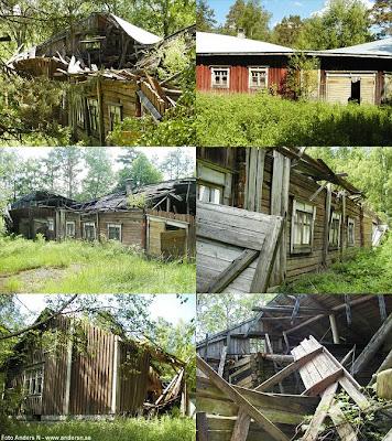 österbotten, hus, gammalt, hus, kåk, rasat