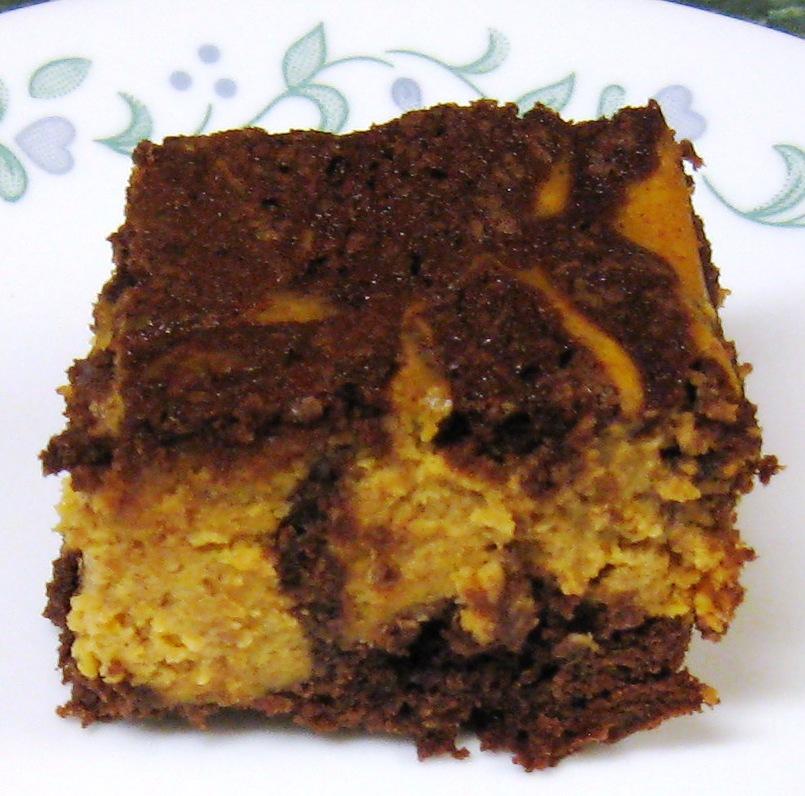 ... Dinner... Healthy & Low Calorie: Pumpkin Cheesecake Swirled Brownies
