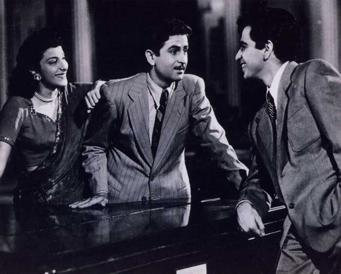 Nargis, Raj Kapoor, and Dilip Kumar, in scene from Andaz - 1949