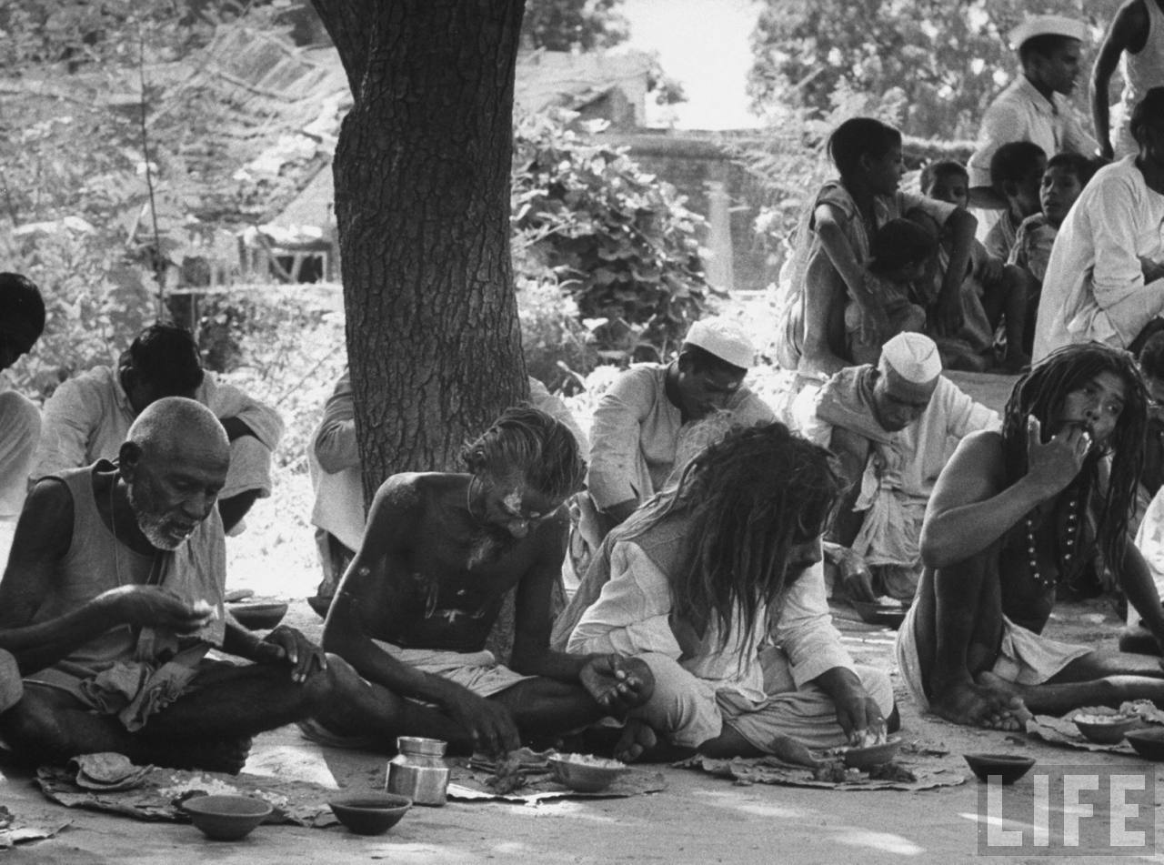 Indian holy men giving a feast in the village of Gaonkhera - 1962