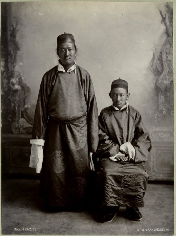 Studio Photograph of Sikkim Kazies -  India 1880's