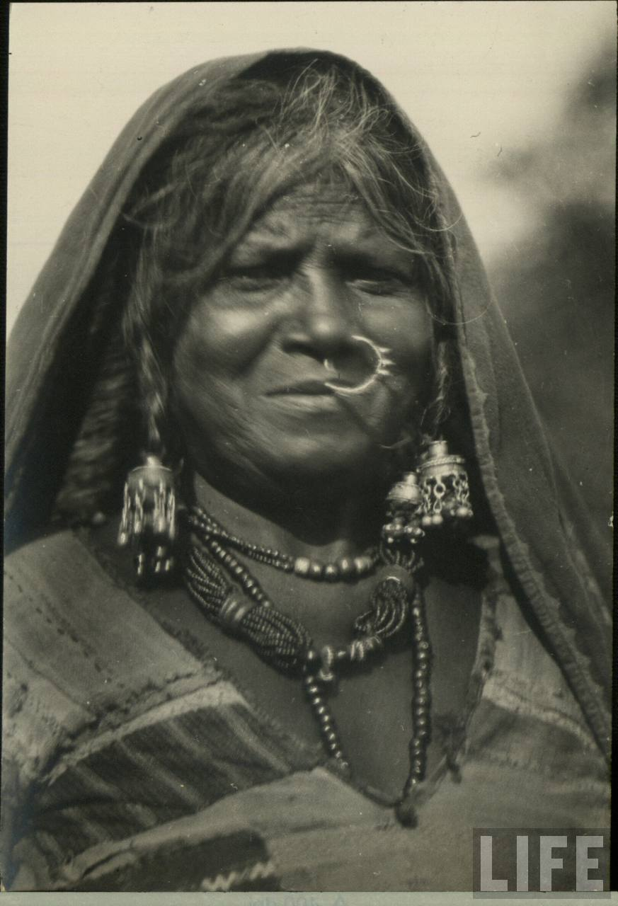 Portrait of an Indian Old Woman with Various Ornaments