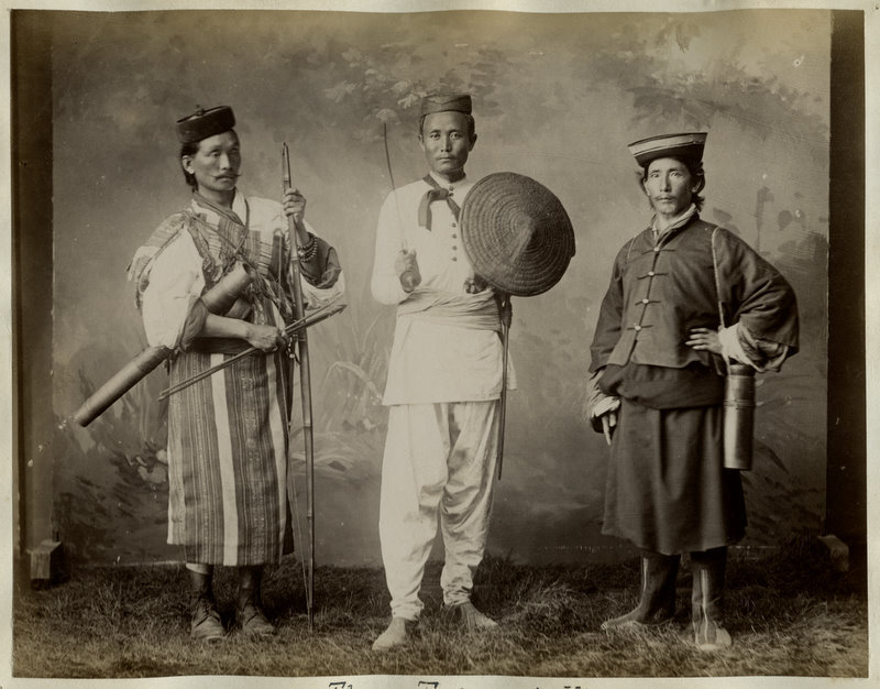 Photograph of Three Himalayan Hillmen - Lepcha, Nepali and Bhutia - 1880's