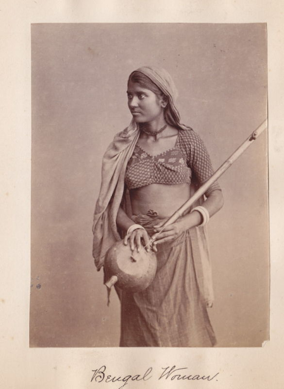 Albumen Photograph of a Woman from Bengal with a Musical Instrument in Hand - 1870's