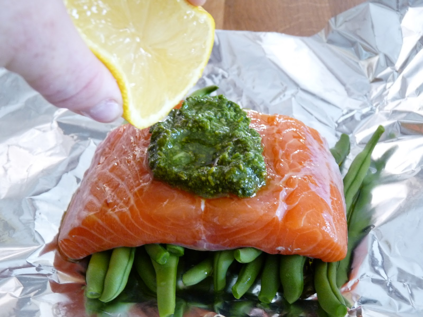 Jamie's Salmon Baked In A Foil Parcel With Green Beans And Pesto