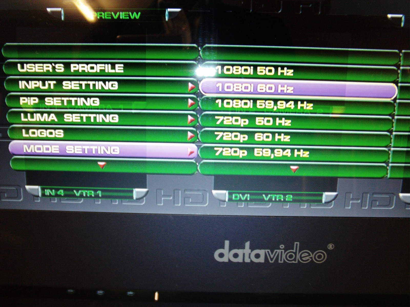 datavideo hs-2000 menu