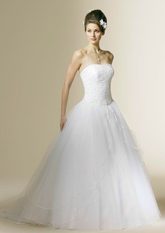 Gorgeous wedding dress gorgeous strapless tulle wedding dress for Tulle halter wedding dress