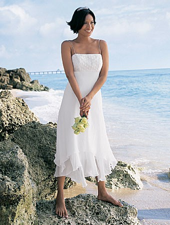 Strapless Informal Beach Wedding Dress