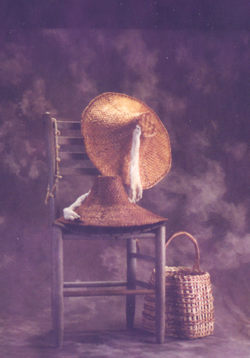 red cedar hats and clam basket by Wilderness Basketry