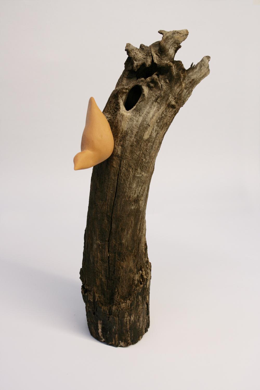 Herv goalec oiseau terre cuite et bois flott for Oiseau en bois flotte
