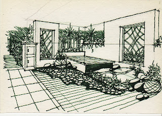 how to draw terrace garden learn to draw On terrace drawing
