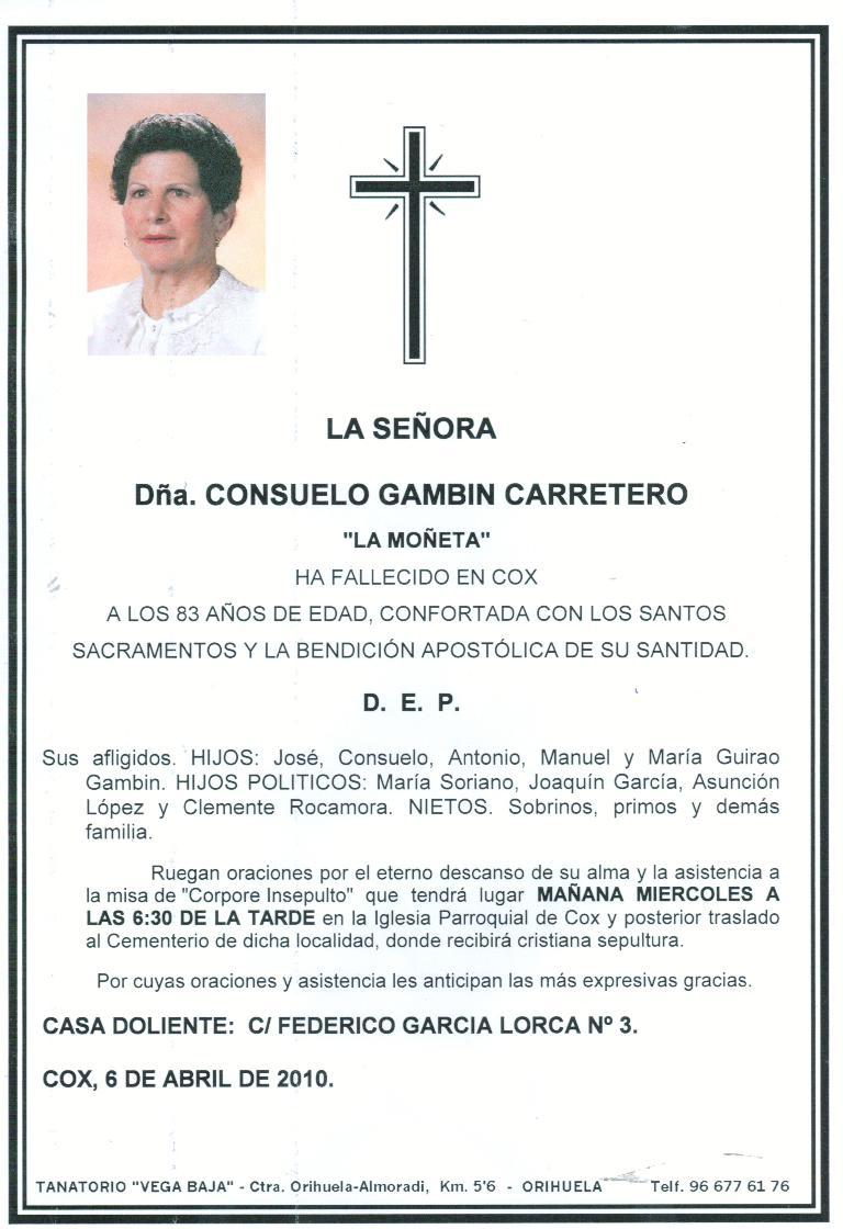 Gamb  N Carretero  Funeral El Mi  Rcoles 7 De Abril A Las 18 30 H