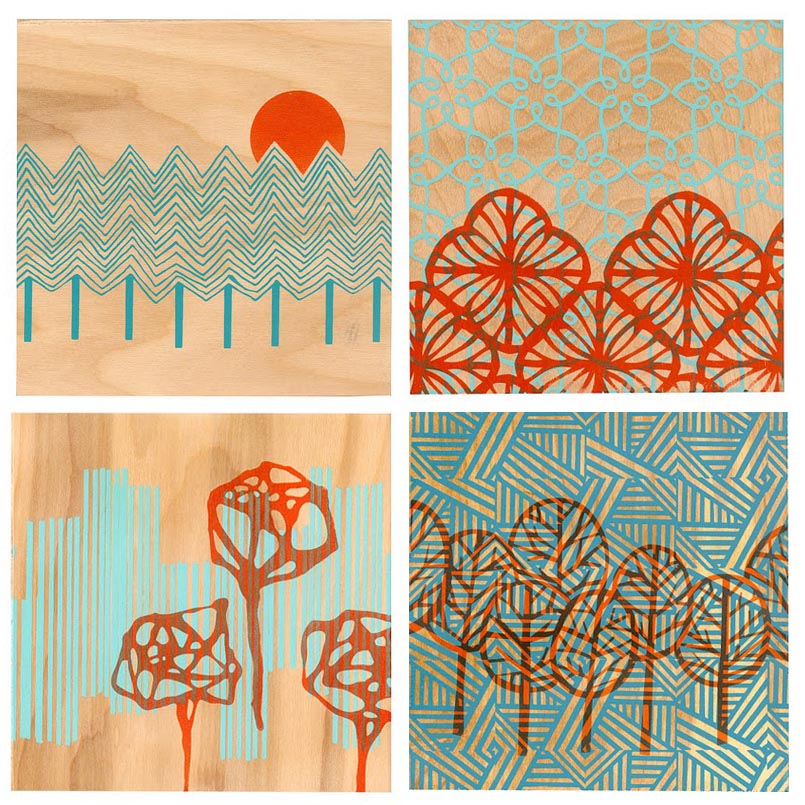 curiousdoodles screen printed wood panels