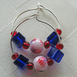 Sterling Silver and Patriotic Bead Earrings