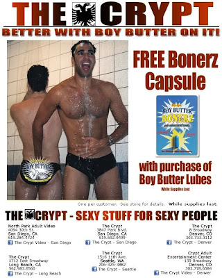 The Crypt, adult store chain offers Boy Butter Bonerz Male Enhancement Free Gift with Purchase