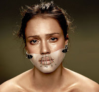 Jessica Alba in Hannibal Lechter muzzle