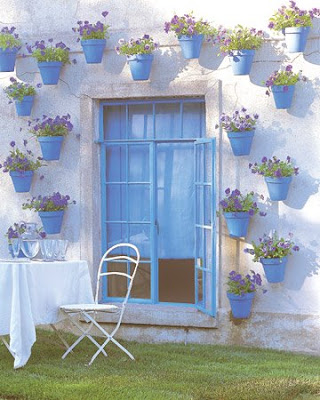 Martha Stewart blue and green potted plants