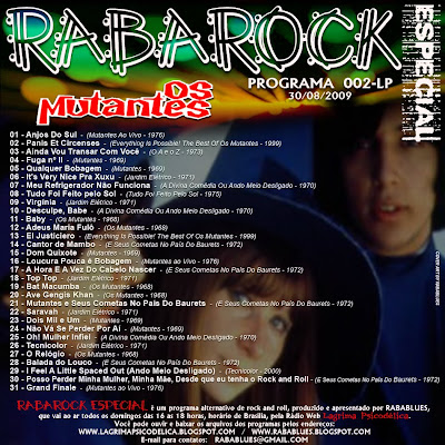 TRACK LIST DO PROGRAMA RABAROCK 002-LP (Os Mutantes)